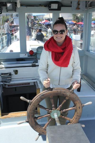 Ciera driving the sail boat.